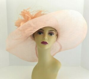 08bddcbf Details about M58( Peach )Kentucky Derby Church Wedding Royal Ascot Wide  Brim Sinamay Hat