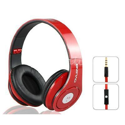 Foldable 3.5mm Headphone Headset Earphone Music Stereo For iPhone Samsung + Mic