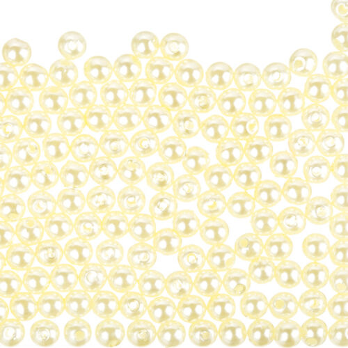 F70//2 Pack of 200 Round Acrylic Faux Pearl Beads 6mm Light Cream