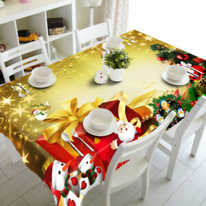 Exquisite 3d Table Cloth Christmas Pattern Waterproof Xmas Thick Tablecloth Ebay