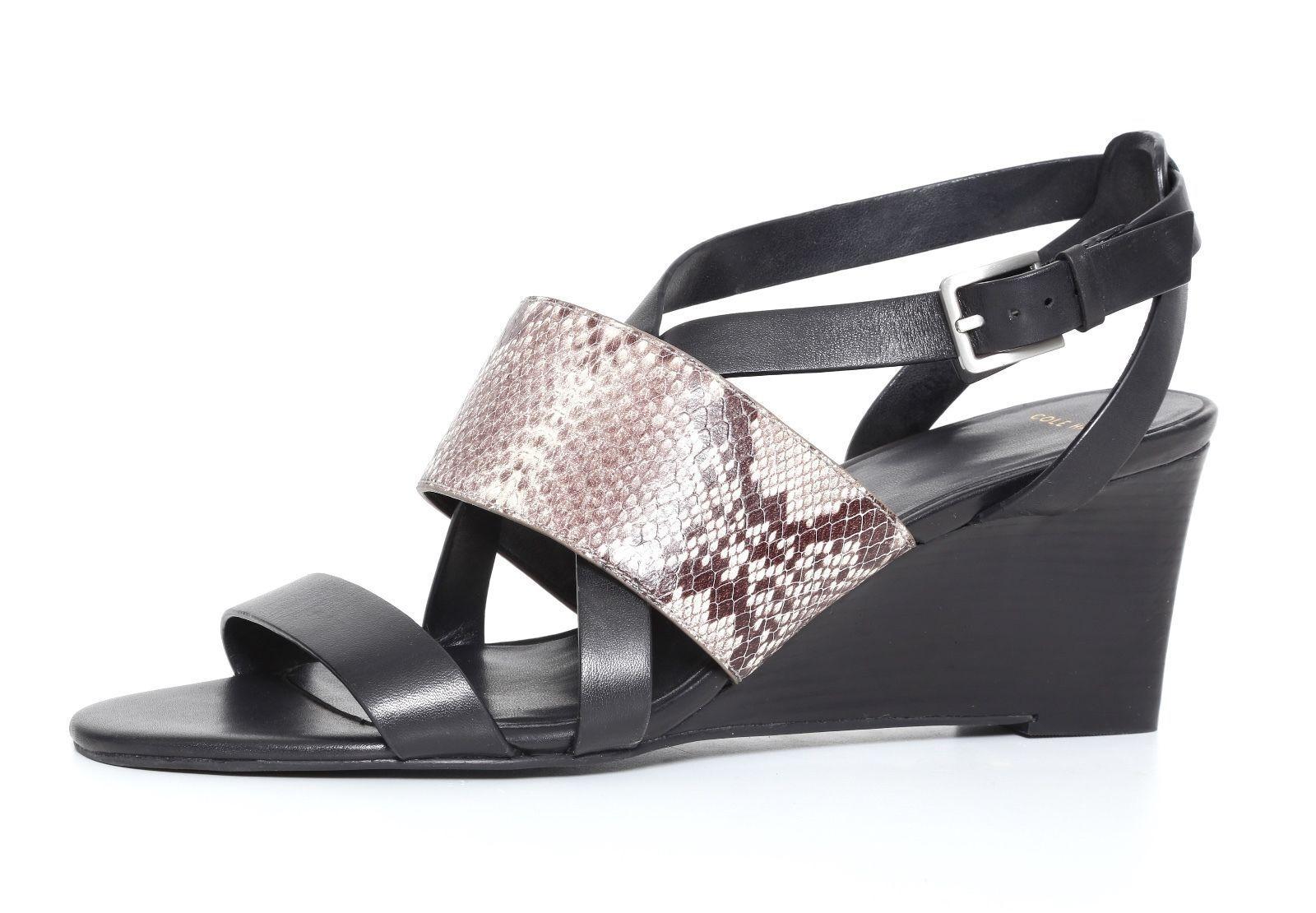 Cole Haan Snake Embossed Pelle Wedge Sandal Donna Size 6 B 3127