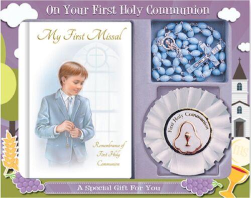 1st Sainte Communion Livre de Prières /& Bleu Rosaire Perles Set communion Rosette Boy