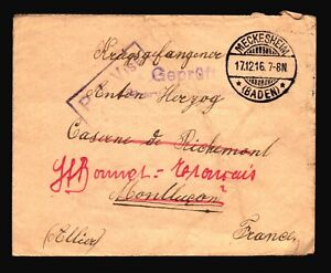 Germany-1916-POW-Cover-Censored-MECKESHEIM-CDS-Z14467