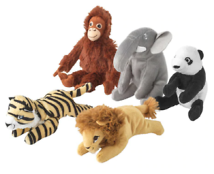 Ikea-DJUNGELSKOG-Soft-toy-Monkey-Elephant-Panda-Tiger-Lion-Small-Animals-14cm