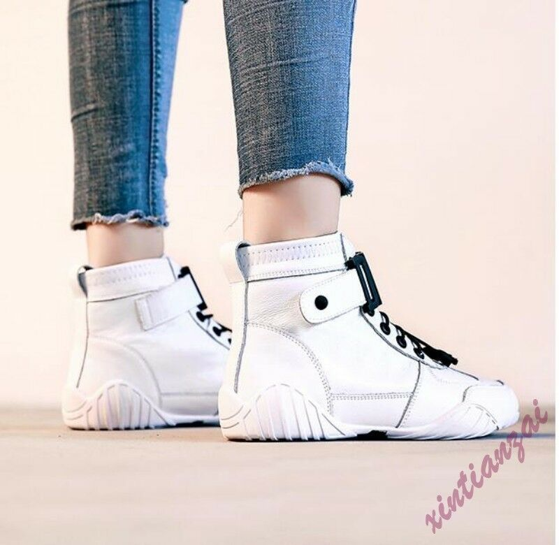 Leather Women Round Toe Lace Up Leisure Casual Casual Casual shoes Sport Vogue 2019 827430