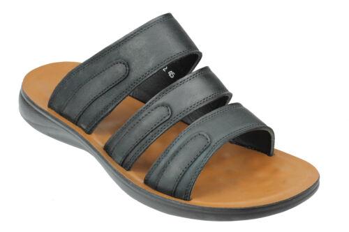 Mens Real Leather Sandals Cross Strap Open Toe Walking Summer Smart Mule UK Size
