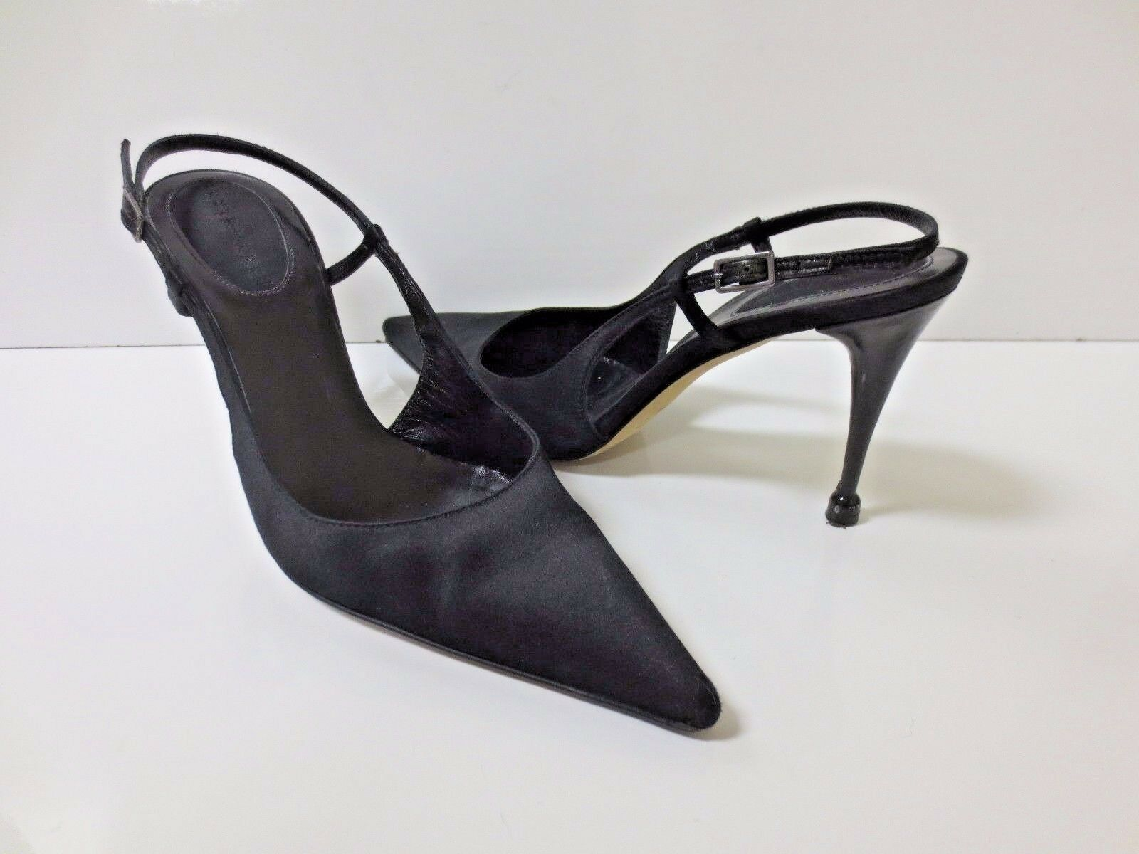 SERGIO ROSSI ROSSI ROSSI Black Satin Slingback Pumps shoes 37 EUC bad2d9