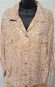 Ruby-Rd-Womens-Brown-White-Button-Down-Shirt-OR-Light-Jacket-Coat-Size-1X-OR-2X