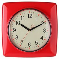 Square Retro Kitchen Wall Clock, Red. By Lily's Home®...free Shipping