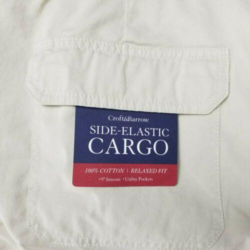 Croft /& Barrow Men/'s 46 Short Cargo Side-élastique Utility Poches Silver Birch