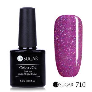 7-5ml-UR-SUGAR-Nail-UV-Gel-Polish-Glitter-Soak-Off-Nail-Art-Red-710