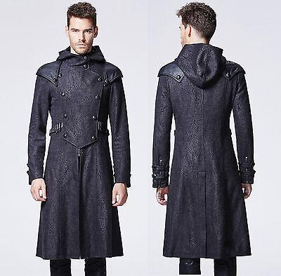 Gothic Punk Rave Jacke Mantel Herren schwarz Kapuze coat black steampunk  Y-582 003eda8b53