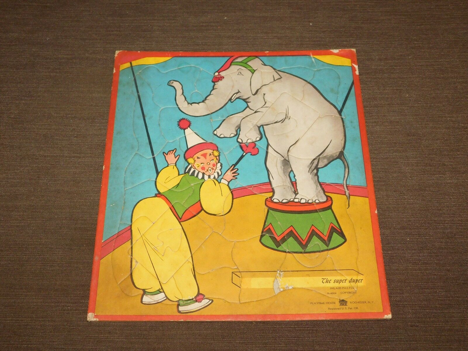 VINTAGE PLAY TIME HOUSE THE SUPER DUPER ELEPHANT CIRCUS CLOWN PUZZLE