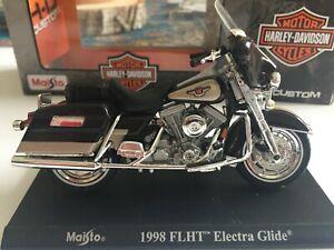 Harley-Davidson-Electra-Glide-FLHT-1998-Maisto-1-18-Bleu-Noir-Argent-socle