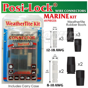 MARINE-WIRE-CONNECTOR-KIT-POSI-LOCK-WEATHERTITE-BOOTS-10-18-AWG-10-PIECE