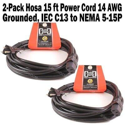 PWC-148 IEC C13 to NEMA 5-15P Hosa Technology 8FT Power Cords 4 Pack 18 AWG