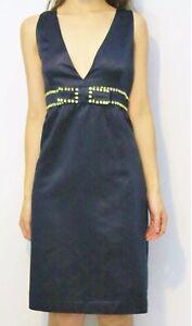 savingglory-RED-VALENTINO-Silk-Plunge-Dress-Embellished-Bow-Au-16-US-12-IT-48