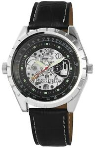 Classique-Herrenuhr-Schwarz-Silber-Handaufzug-Metall-Kunst-Leder-XRP7002100004
