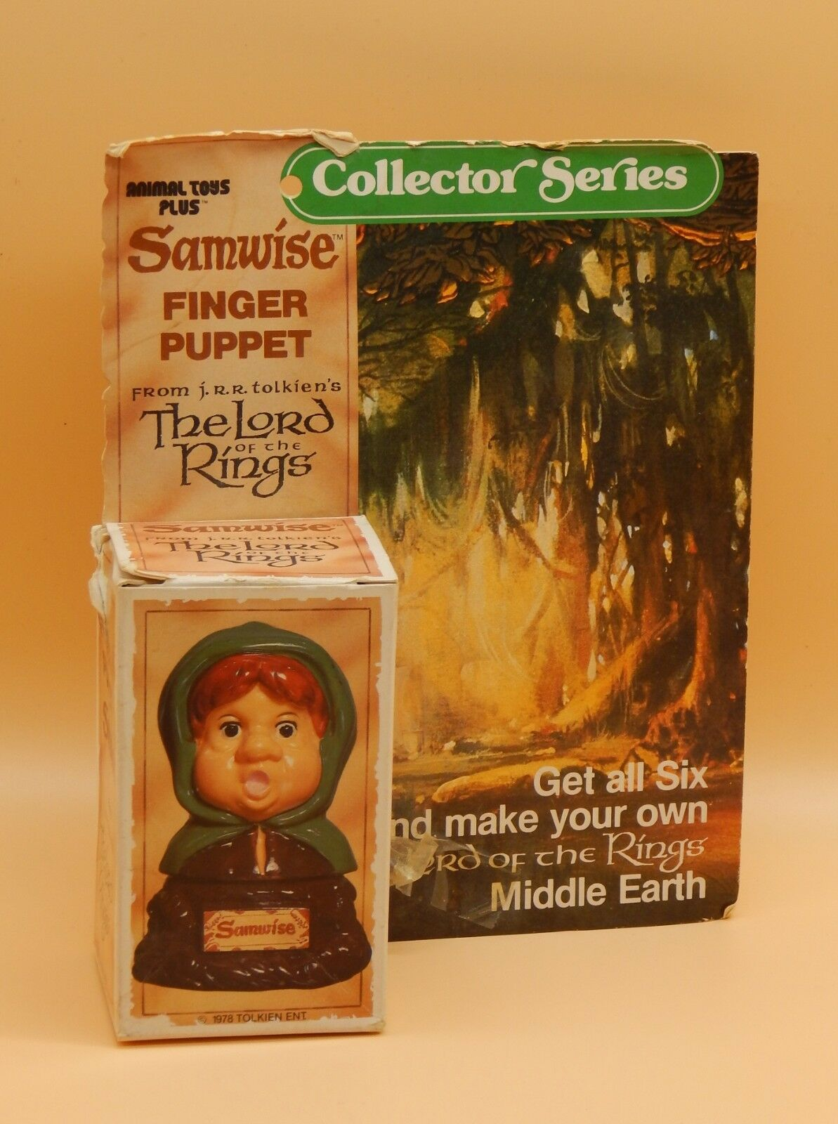 SAMWISE vintage LOTR Finger Puppet figure 1978 Tolkien Lord of the Rings w  BOX