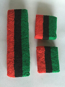 Image is loading Green-Black-Red-Stripe-Sports-Unisex-Cotton-HeadBand- b1303567a48