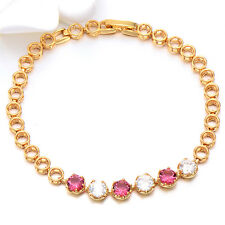18K Yellow Gold Plated Red And White Cubic Zirconia For Womens Bride Bracelet