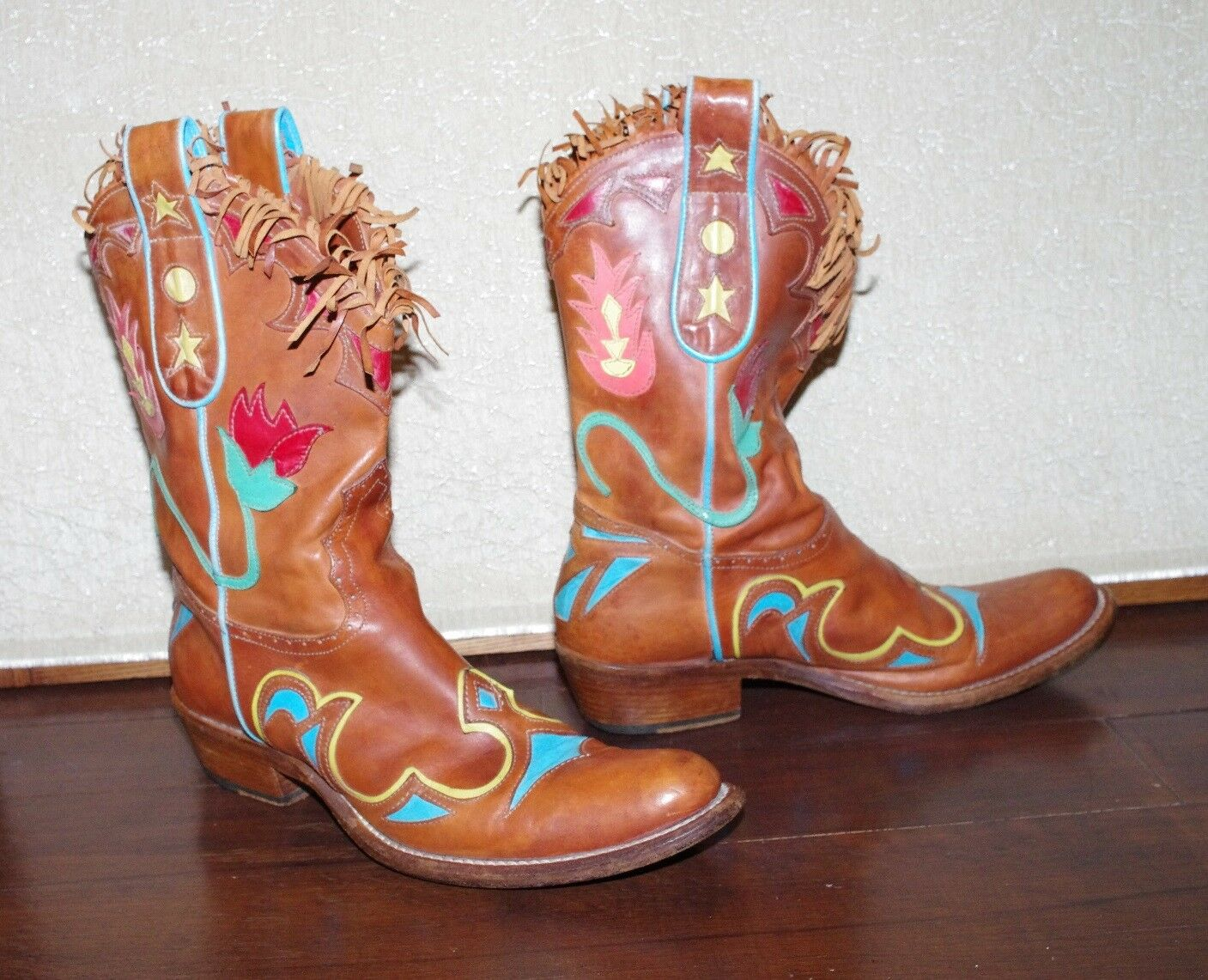 WOMEN'S Leder Braun Patched Cowboy Western Stiefel VERO 37 CUOIO Hand Made  37 VERO 8d7e49
