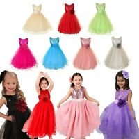 Kids Girls Sequinned Dress Flower Formal Party Wedding Bridesmaid Size 3-10years