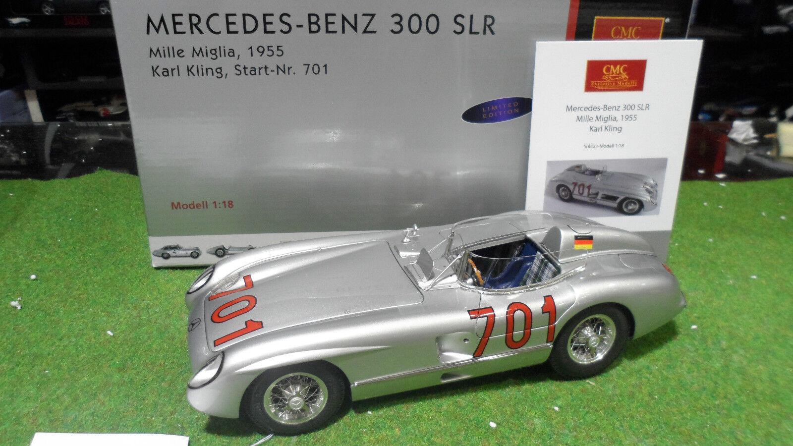tienda de venta en línea MERCEDES-BENZ 300 SLR 1955 KLING MILLE MIGLIA au 1 1 1 18 CMC M118 voiture miniature