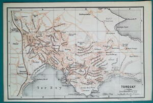 Torquay England Map.1897 Baedeker Map England Torquay Plymouth City Plan Ebay