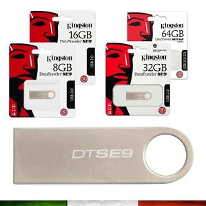 MEMORIA-PEN-DRIVE-CHIAVETTA-USB-Kingston-8GB-16GB-32GB-64GB-128GB-USB-2-0-3-0