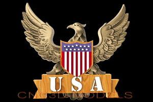 Flag America Eagle Tipo Aspire D518 3D modelo STL Para Cnc Router Talla EE UU
