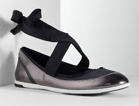 Simply Vera Vera Wang Simply Women's Breathe Bally Pewter Lace-up Ballet Flats