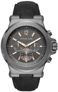 Details about Michael Kors MK8511 Dylan Grey Dial Leather Strap Chronograph Men's Watch