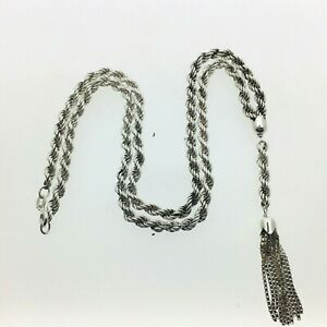 Vintage-Silver-Rope-Chain-Necklace-With-Ten-Tailed-Box-Link-Tassel-1981-20-1-4-034