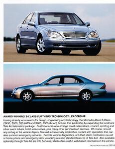 2004 mercedes s55 amg s600 s500 s430 owners sales brochure s class new original