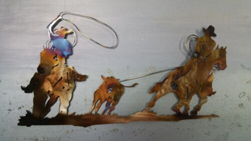 "Roping Cowboys 18/"" Hand Made in Waco Texas wall art decore"