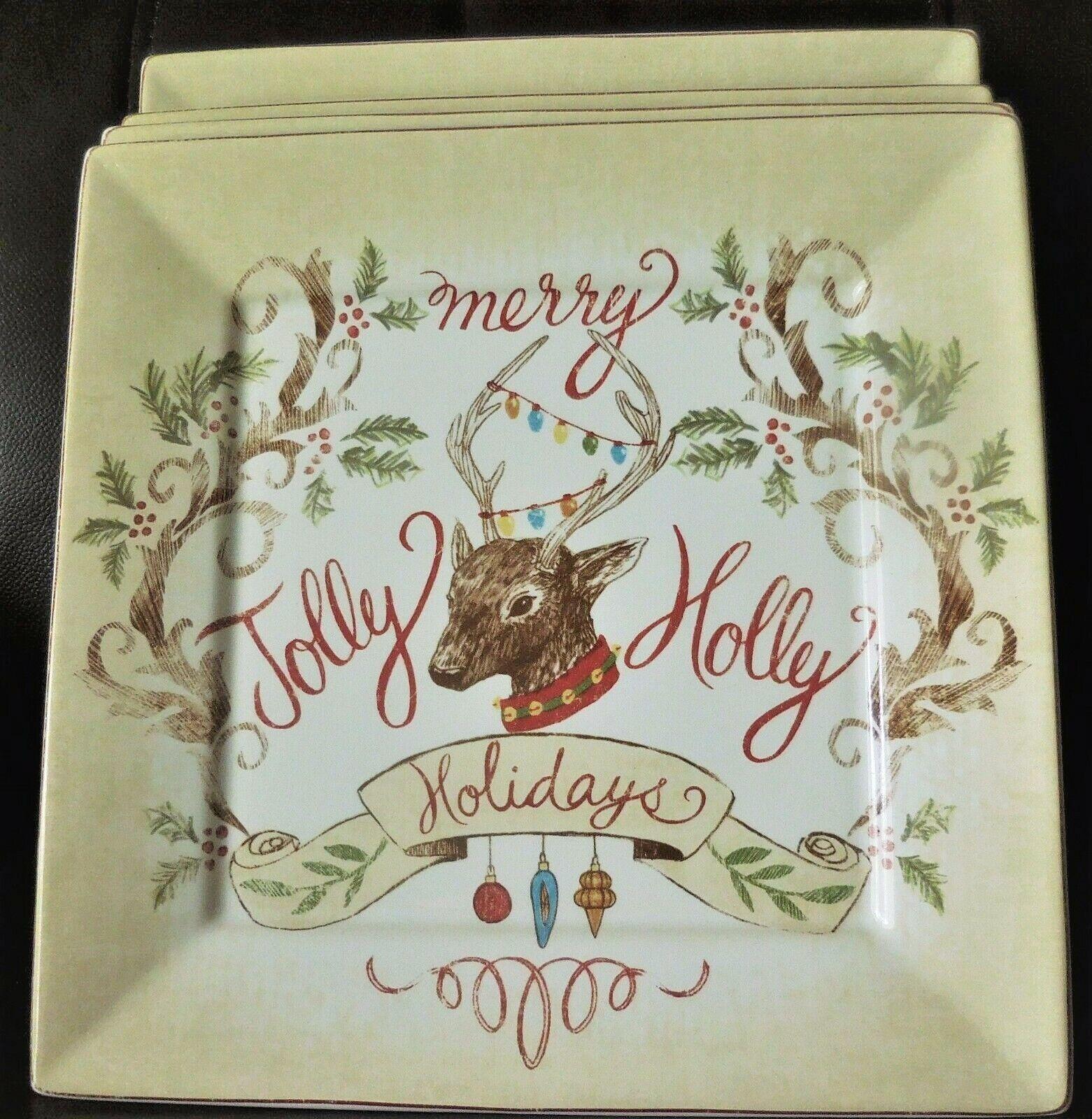 222 Fifth PTS International Jolly Holiday Dinner Plate Set de 8 NEUF