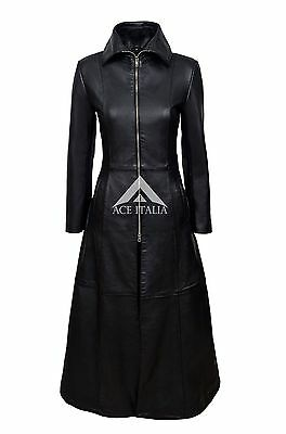 Feminine Ladies Trench Coat Red Washed Gothic Rock Style Designer Real Leather