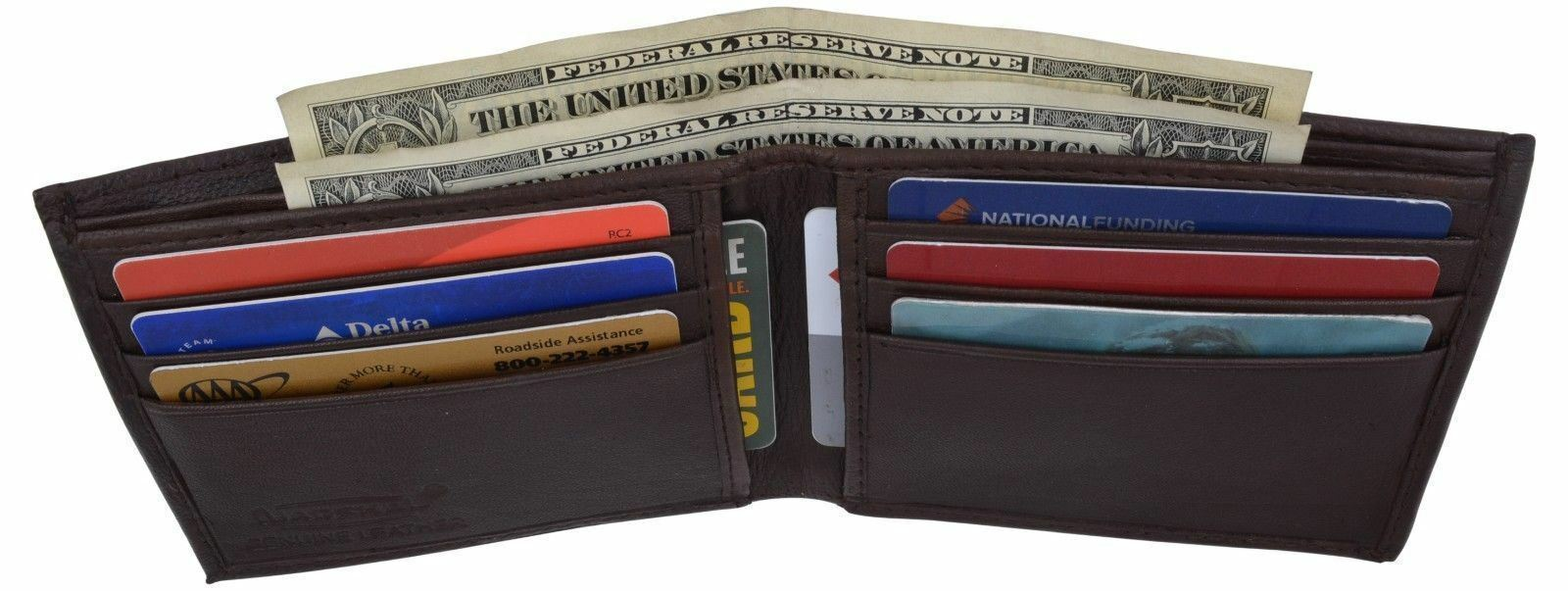 Mens Leather Thin Bifold Thin Wallet ID 6+ Credit Card Holder Front Pocket