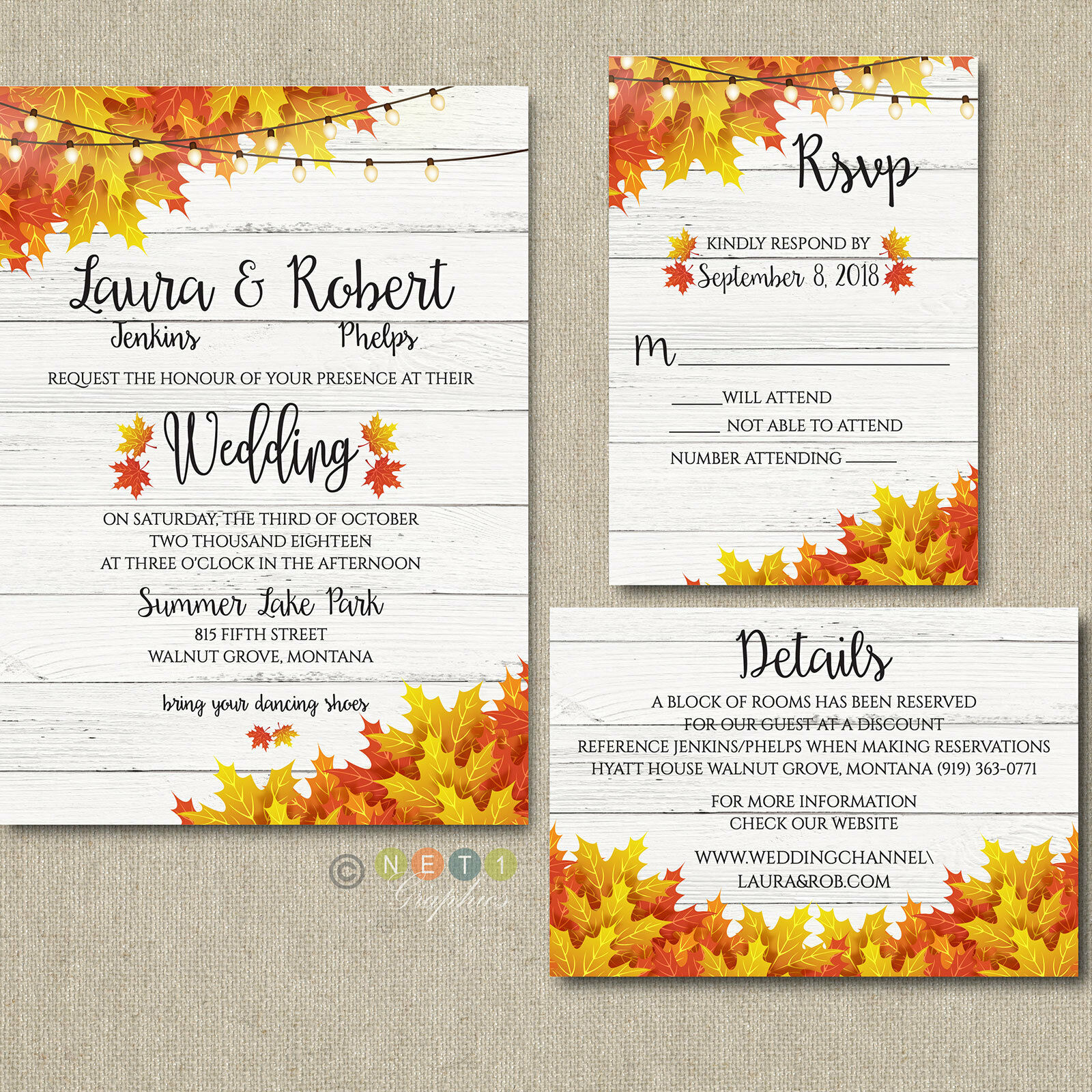 100 Personalized Fall Wedding Invitations Autumn Couleurs with Envelopes