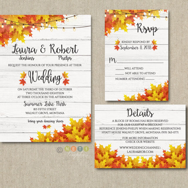 100 personalized fall wedding invitations autumn colors with