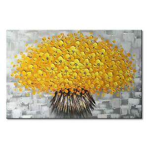 Hand-Painted-Oil-Painting-Yellow-Textured-Flower-Canvas-Wall-Art-Floral-Decor