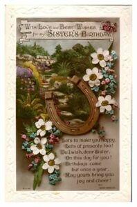 Antique-RPPC-postcard-Birthday-card-Sister-flowers-horseshoe-amp-poem