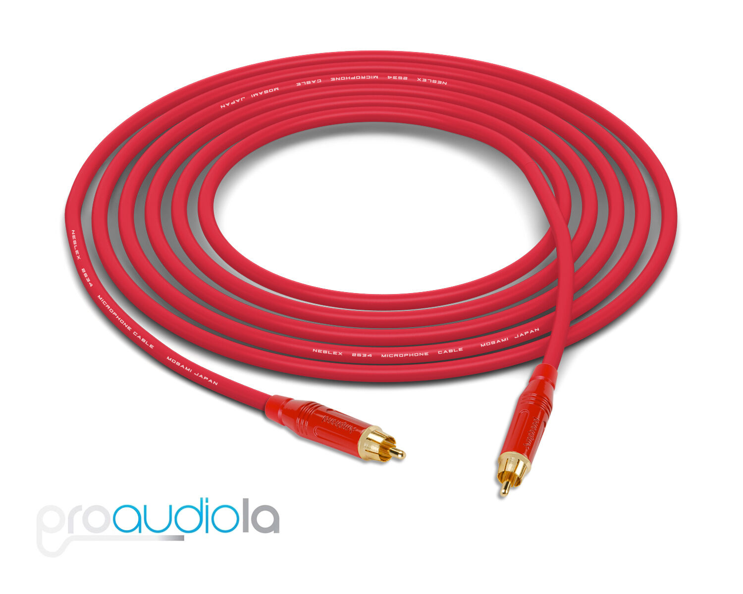 Mogami 2534 Quad Cable   Red Amphenol RCA to RCA   Red 25 Feet 25 Ft. 25'