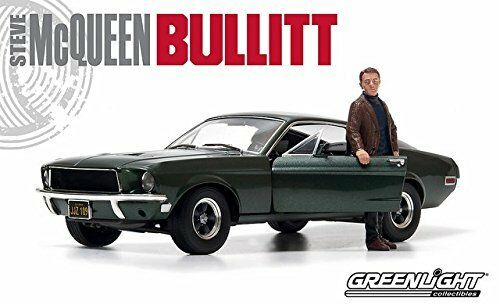GREENLIGHT 12885 BULLITT 1968 FORD MUSTANG GT 1 18 GREEN w STEVE MCQUEEN FIGURE