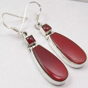 Carnelian-Drop-Dangle-Earrings-Sterling-Silver-Fancy-Women-Jewelry