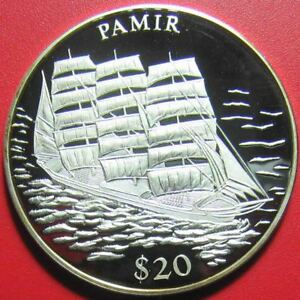 2000-LIBERIA-20-SILVER-PROOF-034-PAMIR-034-GERMAN-SAILING-SHIP-LEGENDS-OF-THE-OCEANS