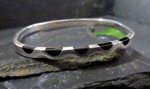 Super-950-Silber-Armreif-Mexico-Taxco-Onyx-Schwarz-Wellen-Einbuchtungen-Designer