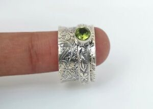 74-Solid-925-Sterling-Silver-Spinner-Ring-Peridot-Stone-Ring-Handmade-Any-Size