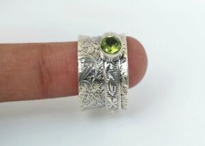 99-Solid-925-Sterling-Silver-Spinner-Ring-Peridot-Stone-Ring-Handmade-Any-Size